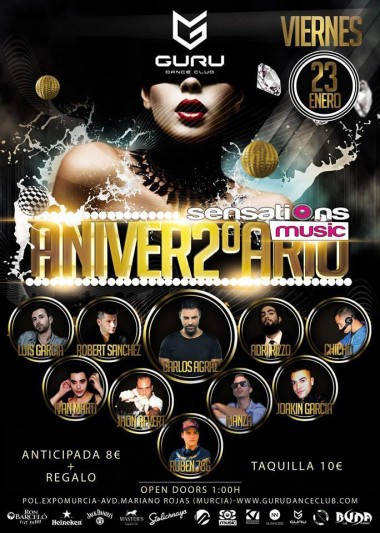 Discoteca Guru Dance Club Murcia - Flyer 2 Aniv. Sensation Music