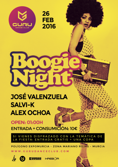 Discoteca Guru Dance Club Murcia - Flyer Boogie Night