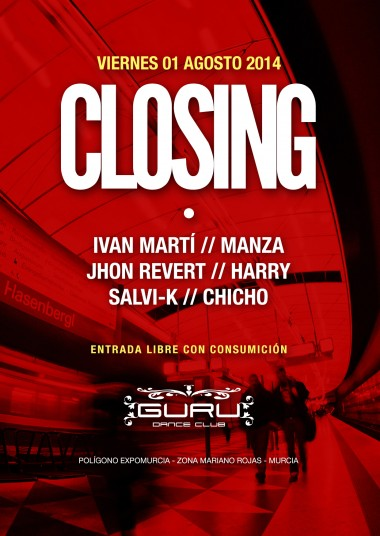 Discoteca Guru Dance Club Murcia - Flyer Closing 2014