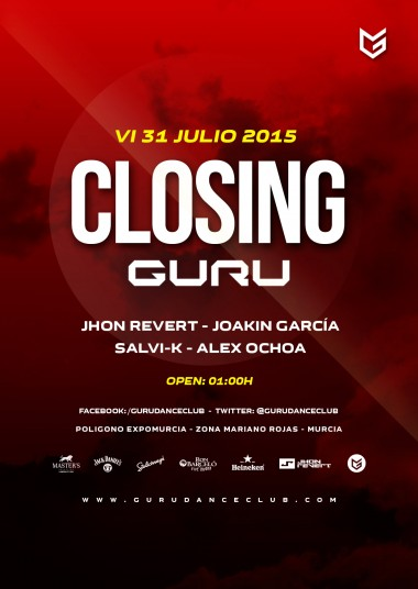 Discoteca Guru Dance Club Murcia - Flyer Closing 2015