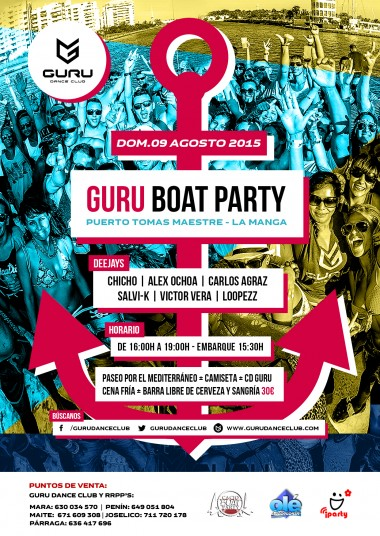 Discoteca Guru Dance Club Murcia - Flyer Guru Boat Party 2015