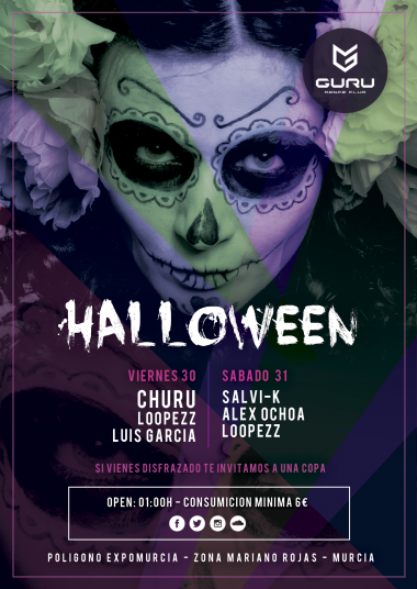 Discoteca Guru Dance Club Murcia - Flyer Halloween 2015