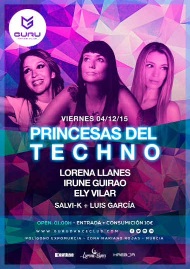 Discoteca Guru Dance Club Murcia - Flyer Princesas del Techno