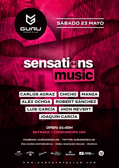 Discoteca Guru Dance Club Murcia - Flyer Sensations Music Showcase