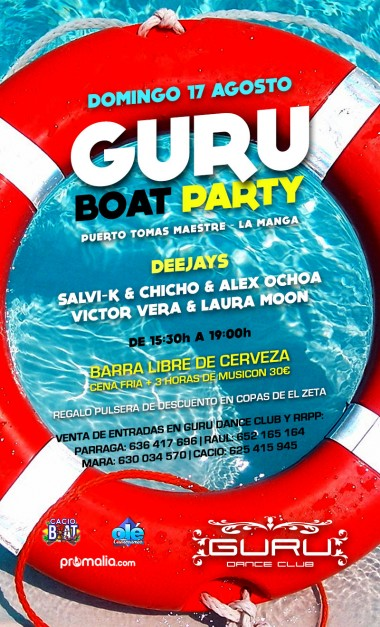 Discoteca Guru Dance Club Murcia - Flyer Guru Boat Party
